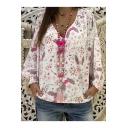 Summer Trendy Heart Swing Printed Long Sleeve V-Neck Loose Shirt