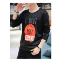 Popular Fashion Letter I HAVE A BEST DAY Hat Printed Round Long Sleeve Mens Casual Pullover Sweatshirts