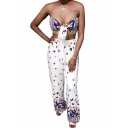 Womens Fashion Butterfly Print Front Bow Knot Bandeau Top with Wide Leg Pants Co-ords