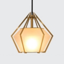 Milky Glass Diamond Pendant Light Designers Style Art Deco Hanging Light for Living Room