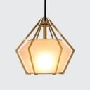 Milky Glass Diamond Pendant Light Designers Style Art Deco Hanging Light for Living Room