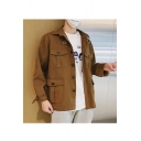 Guys Vintage Simple Solid Color Lapel Collar Long Sleeve Pockets Casual Loose Workwear Jacket