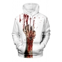 Creative Fashion Blood Hand 3D Printed Drawstring Hooded Long Sleeve Unisex White Casual Hoodie