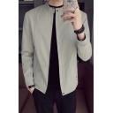 Mens New Stylish Solid Zip Placket Long Sleeves Stand Collar Jacket Coat