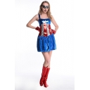 Halloween New Stylish Square Neck Sleeveless Star Stripe Printed Mini A-Line Cosplay Dress