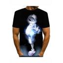 Summer New Stylish Print Short Sleeve Round Neck Black T-Shirt For Men