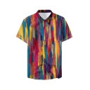Mens New Stylish Oil Painting Pattern Basic Short Sleeve Button Up Beach Shirt