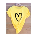 Summer Fashion Simple Heart Print Short Sleeve Round Neck Cotton T-Shirt