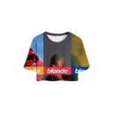 Women's Simple Letter BLONDE Figure Print Short Sleeve Round Neck Cropped Tee