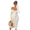 Women's Off the Shoulder Long Sleeve Ruched Midi White Sheath Dress