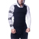 Mens New Fashion Colorblock Letter Printed Long Sleeve Slim Fitted Sports Hoodie