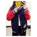 Heavy-Duty Colorblocked Letter Number Print Single Breasted Baseball Jacket Coat for Girl