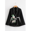 Artistic Embroidery Floral Print Stand Collar Tied Waist Black Loose Jacket Coat