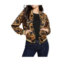 Gold Vine-Print Stand Up Collar Ribbed Cuffs Zipper Cropped Black Casual Jacket with Pocket
