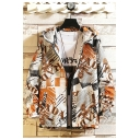 Mens New Fashionable Letter Print Long Sleeve Hooded Zip Up Casual Jacket
