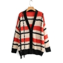 Womens Plaid Print V-Neck Long Sleeve PU Trim Chenille Cardigan Knitwear