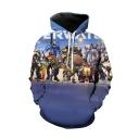 Trendy Comic Figure Printed Long sleeve Blue Drawstring Pullover Hoodie