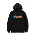 Letter BLOOD Printed Long Sleeve Unisex Casual Pullover Hoodie with Pocket
