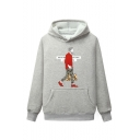 New Stylish Letter Comic Figure Printed Long Sleeve Casual Loose Hoodie with Pocket