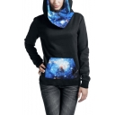 New Popular Universe Star Pattern Black Long Sleeve Hoodie With Pocket