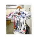 Hot Fashion Skull Letter Graffiti Pattern Long Sleeve Casual Sports White Hoodie