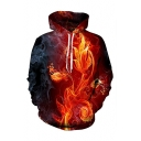 Hot Fashion Fire Floral Printed Long Sleeve Drawstring Pullover Red Hoodie