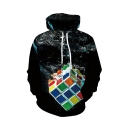 New Fashion Water Rubik's Cube 3D Printed Long Sleeve Black Casual Loose Hoodie