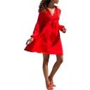 Womens New Fashion Lapel Collar Long Sleeve Guipure Plain Empire Waist Midi Dress
