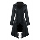 Womens Hot Popular Medieval Vintage Lace-Trimmed Button Front Longline Blazer Coat