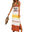 Womens Summer V-Neck Sleeveless Letter HIPPIE SOUL Color Block Slit Sheath Shift Maxi Tank Dress