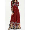 Moslem New Stylish Round Neck Long Sleeve Tribal Print Red Swing Floor Length Maxi Dress