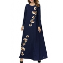New Stylish Round Neck Long Sleeve Floral Print Navy Loose Swing Maxi Dress