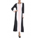 Womens New Fashion Round Neck Long Sleeve Color Block Striped Swing Sheath Maxi Dress