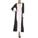 Womens New Fashion Round Neck Long Sleeve Color Block Striped Swing Sheath Maxi Dress