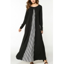 Moslem Fashion Round Neck Long Sleeve Striped Panelled Knit Black Swing Maxi Dress