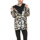 New Fashion Classic Camouflage Printed Zip Up Hooded Long Metallic Outdoor Coat