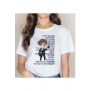 New Fashion Letter IN MY BLOOD Cartoon Guitar Figure Printed White Short Sleeve Tee