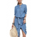Womens Round Neck Half Sleeve Bow-Tied Wait Single Breasted Split Front Denim Asymmetrical Midi Dress