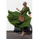 Womens Fashion V-Neck Puff Sleeve Lace Panelled Green Asymmetrical Flare Maxi Dress