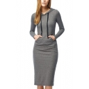 Womens Hot Fashion Hoodie Long Sleeve Pockets Dark Gray Sheath Sweatshirt Midi Dress