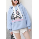 WONDERFUL Letter Cartoon Rabbit And Girl Printed Long Sleeve Loose Casual Hoodie