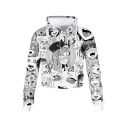 Popular Ahegao Cartoon Comic Manga Faces Pattern Long Sleeves Pullover Crop Hoodie