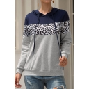 Fashion Blue and Gray Leopard Pattern Patchwork Long Sleeves Pullover Hoodie