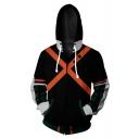 Fashion Comic Cosplay Cross X Print Black Zip Up Hoodie