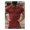 Hot Fashion Mens Short Sleeve Round Neck RISE Letter Sport Fitness Cotton T-Shirt