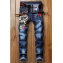 Men's Cool Fashion Dragon Floral Embroidery Pattern Blue Denim Washed Trendy Jeans