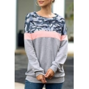 Stylish Round Neck Long Sleeve Camo Leopard Colorblock Patch Pullover Sweatshirt