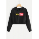 Personalized Black Long Sleeve Who Care Letter Printed Cropped Hoodie