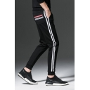 Guys Simple Fashion Contrast Stripe Side Black Drawstring Waist Casual Sweatpants