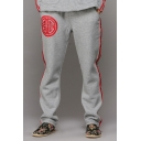 Chinese Style Contrast Stripe Side Logo Printed Casual Loose Sweatpants